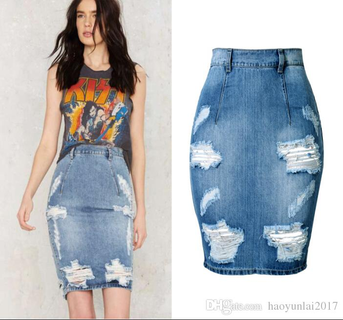 ec214fed8613a 2019 Plus Size Jeans Skirt 2017 Sexy Women High Waist Jean Skirt Back Split  Ripped Jeans Skirts Womens Bodycon Denim Skirts From Haoyunlai2017