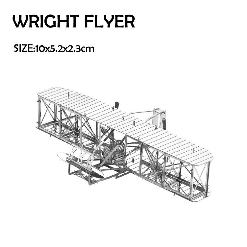 PLANES 3D Metal Modeli Bulmacalar WRIGHT BROTHERS AIRPLANE Çin Metal Toprak Paslanmaz Çelik Askeri Serisi Yaratıcı Hediyeler ICONX