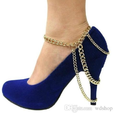 Women Summer Foot Jewelry Gold Punk Style Multi Layer Big Chain Beach Anklets High Heel Shoes Anklet For Women