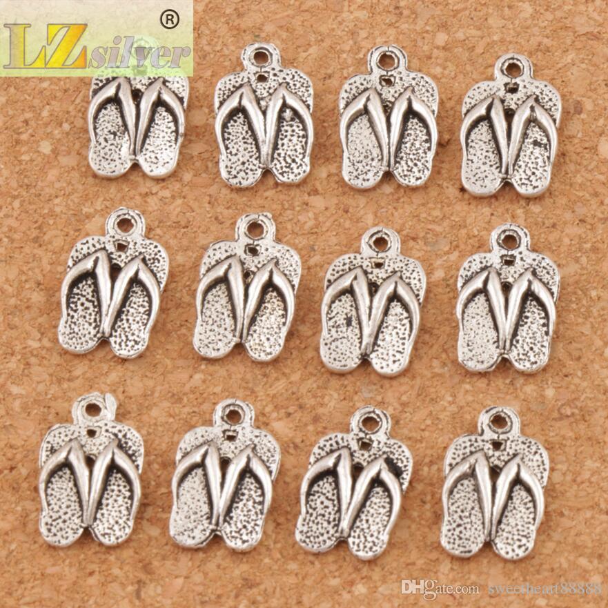 Flip Flops Feito Com Amor Spacer Charme Beads 300 pçs / lote Antique Prata Pingentes Liga Artesanal Jóias DIY 12.6x9.4mm L401
