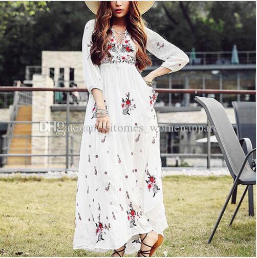 88e62c0d8ac White Boho Long Dress Cotton Chic Vintage Floral Embroidery V Neck Tassel  Casual Maxi Bohemian Beach Dresses Women Holiday Dress Autumn New Cheap  Formal ...