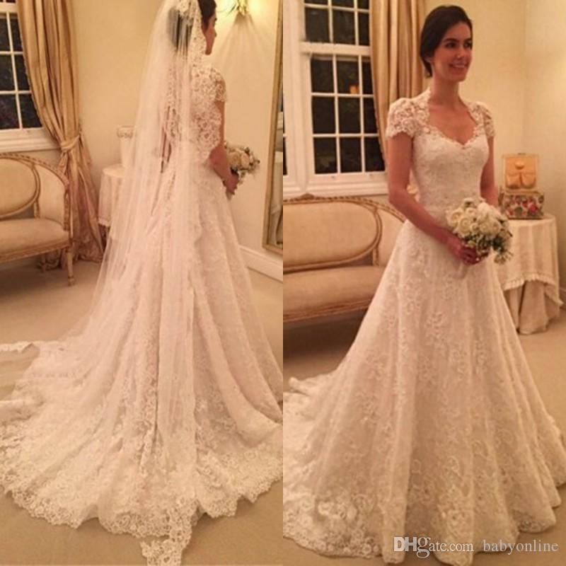 6591f62ad1037 Discount 2017 Fancy Full Lace Vintage Wedding Dresses Vestidos A Line  Square Neck Cap Sleeves Long Bridal Gowns Formal Church Weddings Wedding  Gown Styles ...
