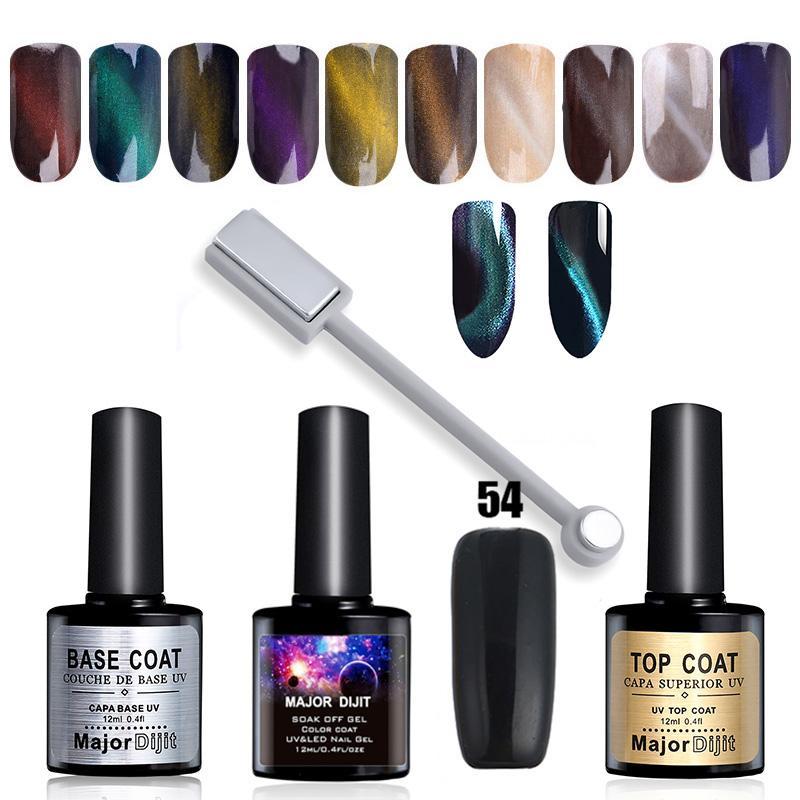 Cat Eye Nail Art Magnetic Powder Glitters Black Gel Polish Top Base ...