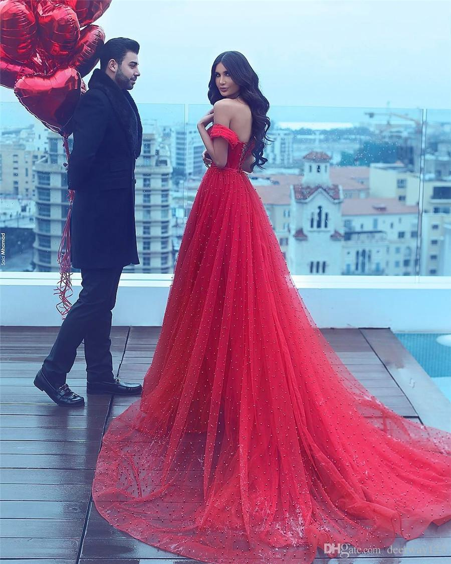 Saidmhamad Saudi Arabia Off the Shoulder Red Crystals Pearl Beading Prom Dress Sexy Sweetheart Evening Gowns Party Dresses