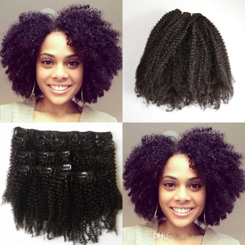 8 10 12 14 16 18 20 22 Inch Full Head Kinky Curly Clip In Human Hair