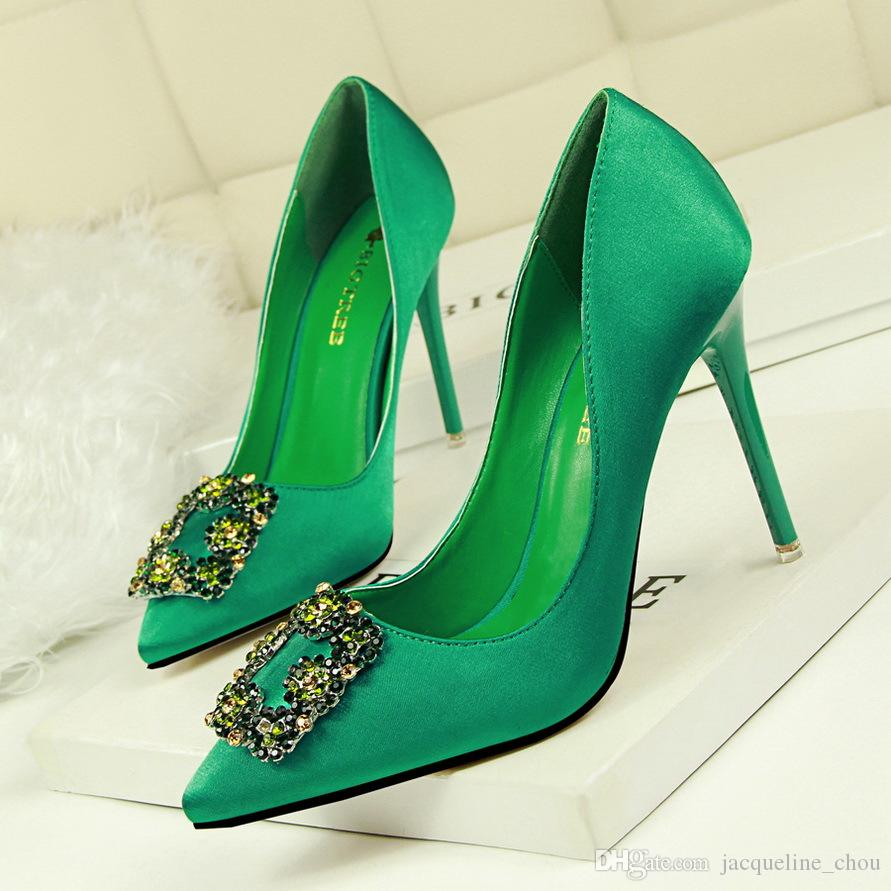 10cm High Heels Shoes Women Sexy Silk Pointed Toe Stiletto Shoes ... 580b13beed77
