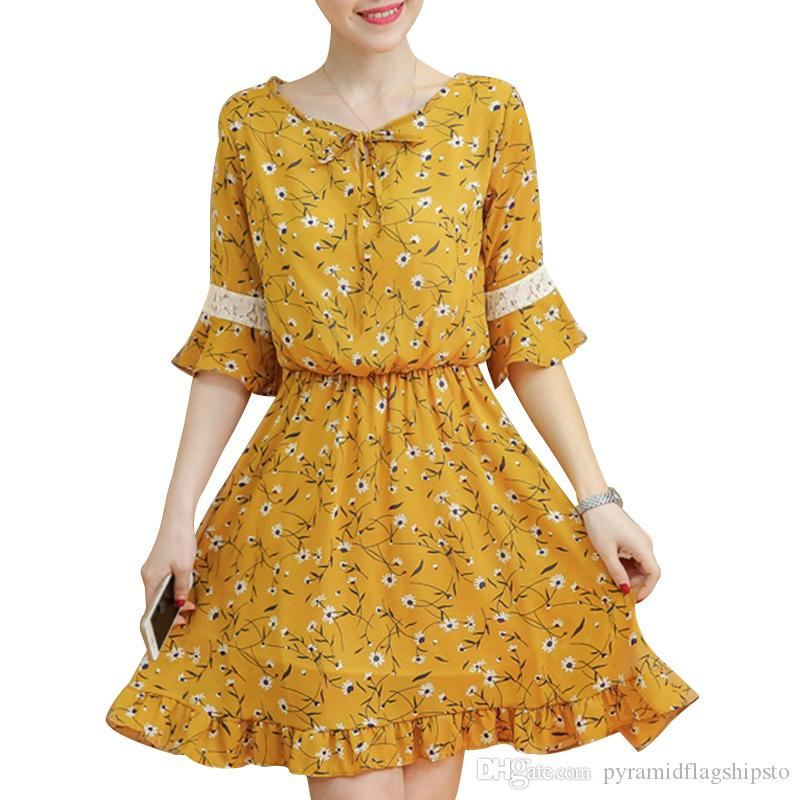 Women's Chiffon Lace Dresses Spring And Summer New Fashion Floral Printed Cute Ruffled Dress Plus Size Ladies Vestidos Fashion