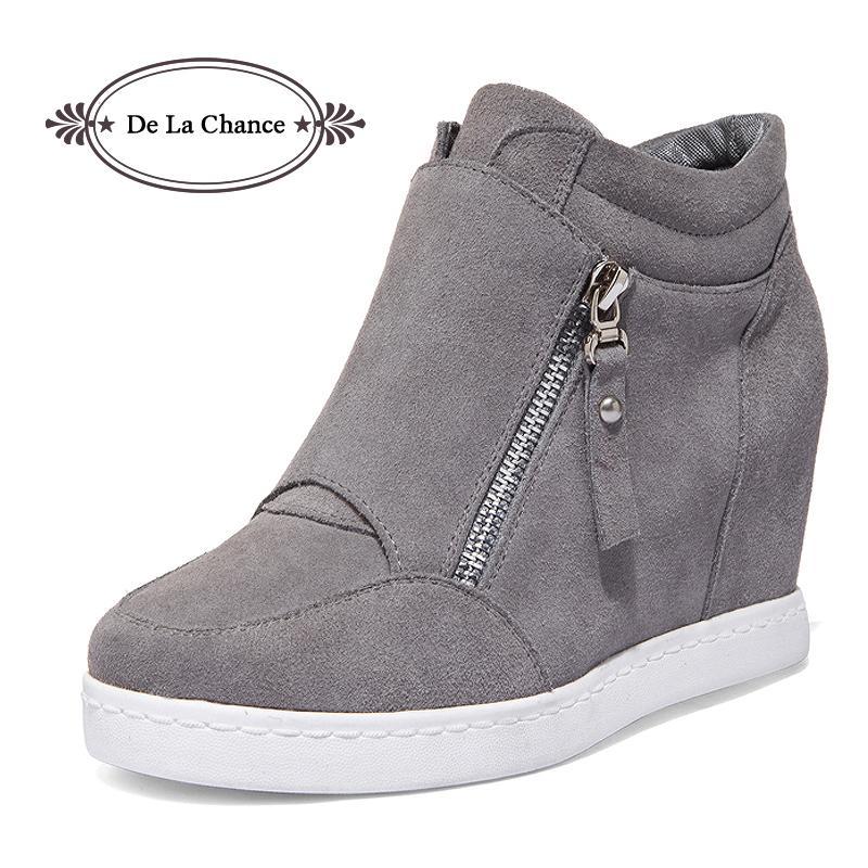 747a32ba Compre Zapatos De Las Mujeres Grises Negras Plataforma 2016 Botas De Cuña  De Tacón Oculto Zapatos Para Mujeres De Tacón Alto Superior Suede  Ocasionales De ...