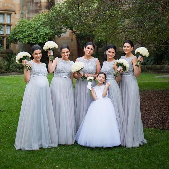 navy bridal party maternity long bridesmaids dresses light sky blue tulle pregnant
