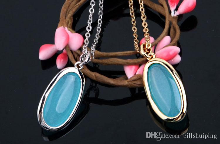 New Fashion Men Women Mixed Color Natural gem Love Necklace Water Drop Pendant Necklaces Jewelry