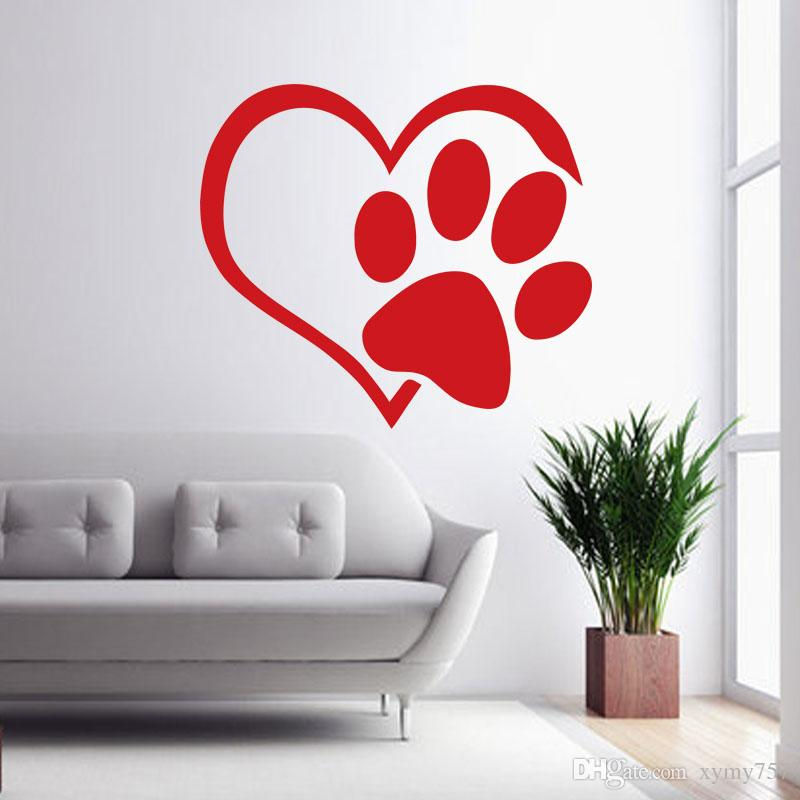 Hot Sale Heart Dog Cat Paw Vinyl Wall Sticker Quotes Living - Locations where sell wall decals