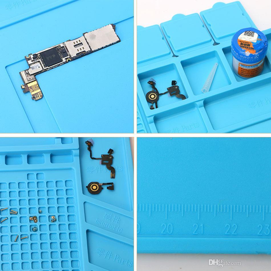 45x30cm magnétique isolation thermique Silicone Pad tapis de bureau Plate-forme de maintenance avec section magnétique pour BGA station de réparation de soudure