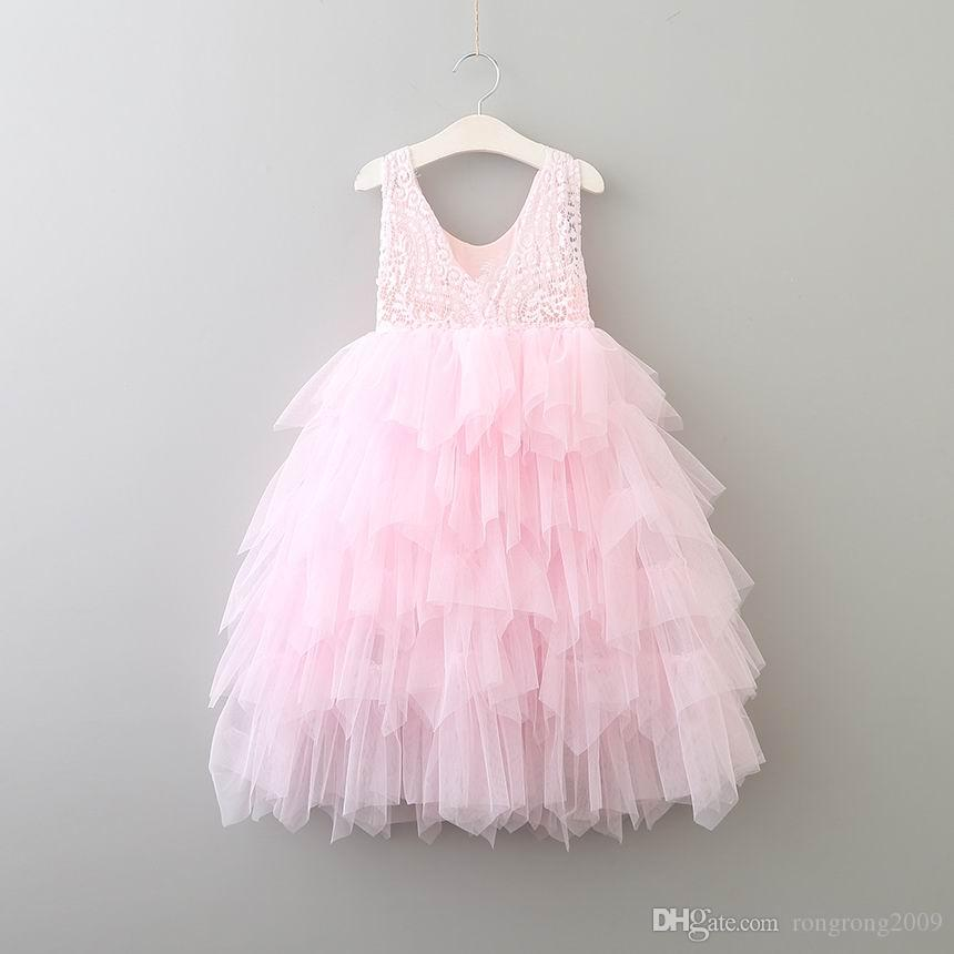 Retail Summer New Girl Lace Dress Princess Flower Tiered Tulle Mid-Calf Sundress For Wedding Party Children Clothing 2-8Y E17103