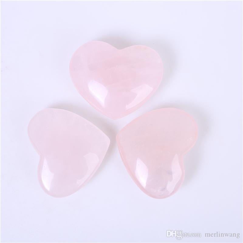 HJT 59mm Natural Rose/Pink Quartz crystal Heart Carving Craft Stone Chakra Healing Reiki Stones Lover gife stone crystal Heart