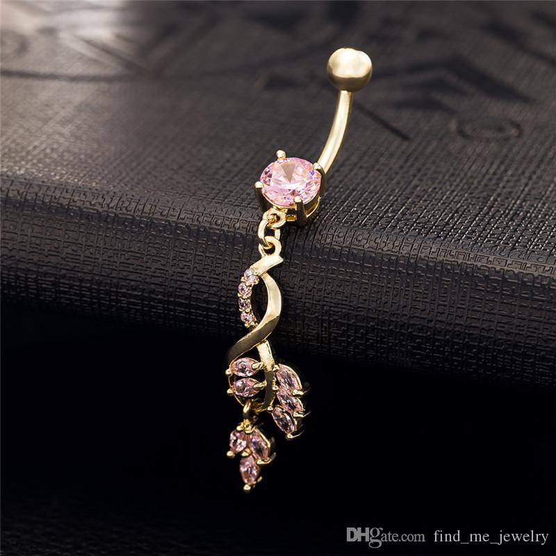 Hot!2017 New Fashion Vintage Charm Crystal Flower Dangle Zircon Navel Belly Button Ring Gold Plated Leaves For Girl Gift For women Jewelry
