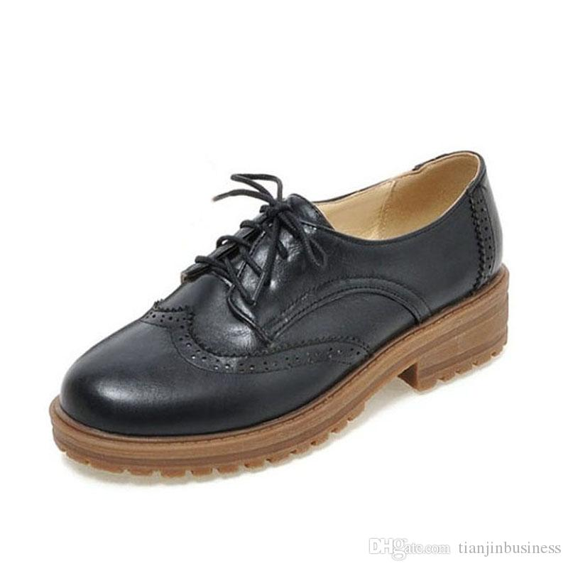 Mens Vintage Carved Brogue Metal Buckle Lace Up Casual Oxfords PVDTPH