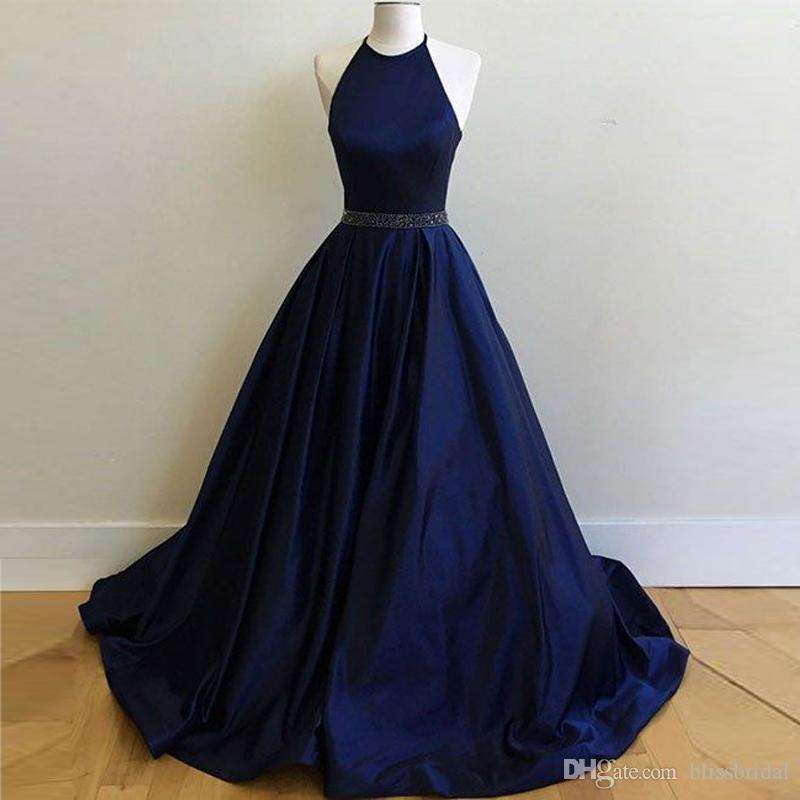 755b9ab28f4 Simple Dark Blue Long Prom Dress A Line Beaded Waist Evening Dresses Floor  Length Zipper Back Formal Party Dress By Fast Shipping Trendy Evening  Dresses ...