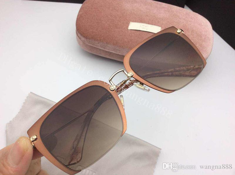 new smu sunglasses women brand designer sunglasses MU07OS square frame sunglasses crystal metarial fashion women style come with pink case