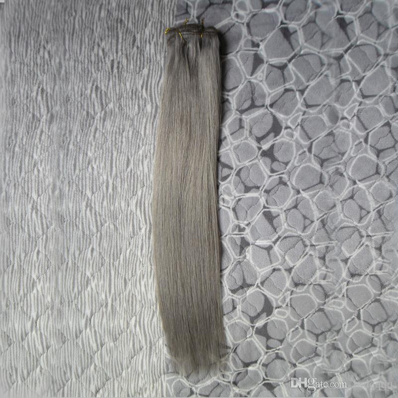 Clip d'épaisseur vierge d'extensions de cheveux humains gris dans les extensions de cheveux directement 100g