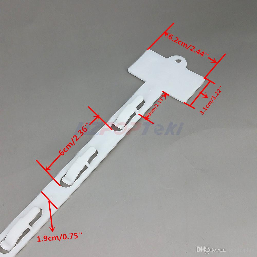 L42cm Kunststoff PP Einzelhandel Produkte Hängen Ware Display Waren Clips Streifen 6 Haken / pc Supermarkt Förderung 80 stücke