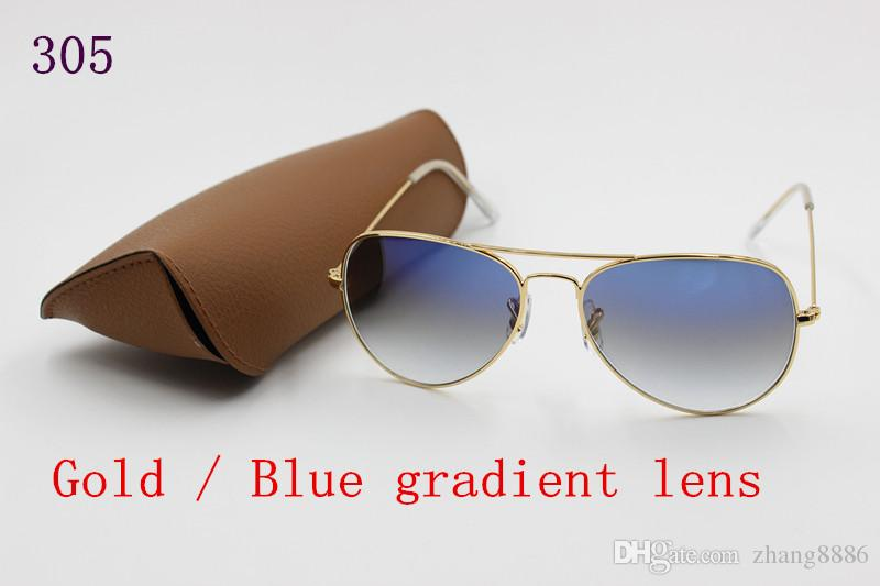 1pcs Top Fashion Designer di marca SunGlasses per uomo Donna Gradient Lega metallo oro blu lente in vetro 58mm scatola originale caso