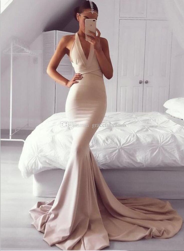 Mermaid Formelle Abendkleider Halfter Abendkleider mit tiefem V-Ausschnitt Lange rückenfreie Träger Abendkleider mit Kreuz abendkleider abendkleider 2019