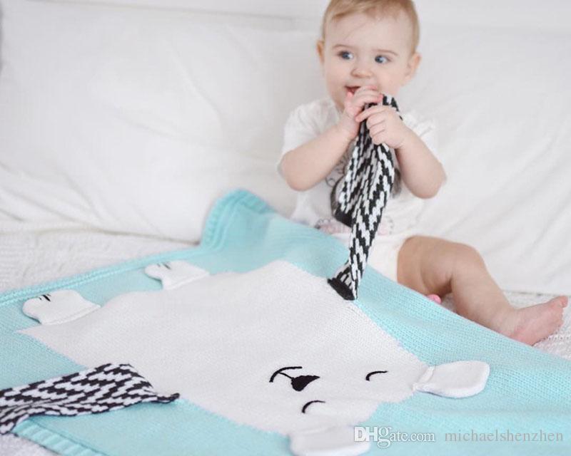 INS Baby Girls Cute bear Knitted Blankets Sleeping Swaddling Sleeping Bags Cute Children Blanket kids Swaddling B001