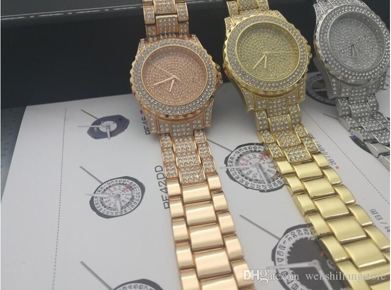 Nouveau Style De Mode Femmes / homme Montre Dame Argent Diamant Montre-Bracelet En Acier Bracelet Chaîne De Luxe amant Montre Haute Qualité Verrouillage Pliant