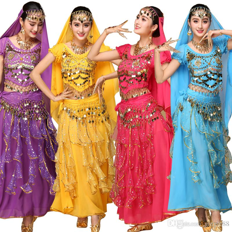 154b9cdf8e 2019 Sets Sexy India Egypt Belly Dance Costumes Bollywood Costumes ...
