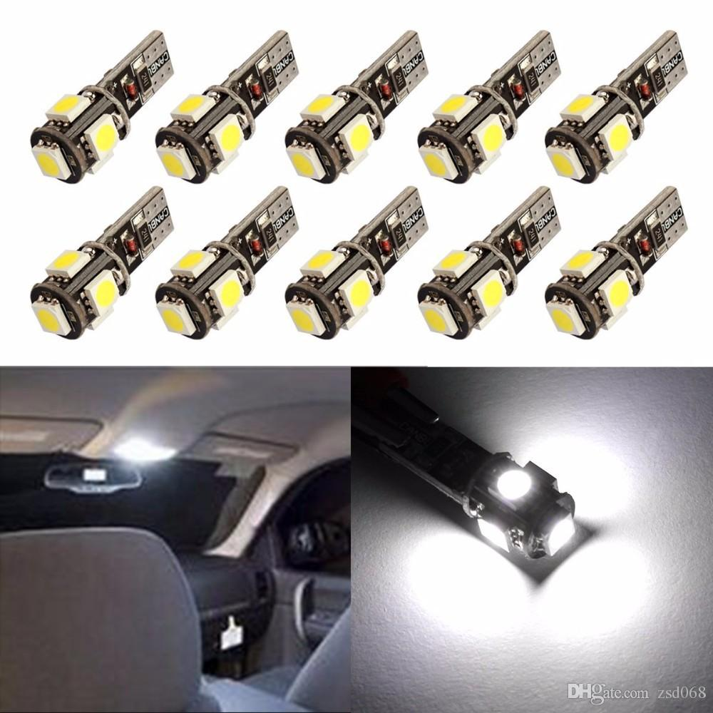 100PCS T10 5SMD 5050 led Canbus Error Free Car Lights W5W 194 5SMD LIGHT BULBS ERROR White