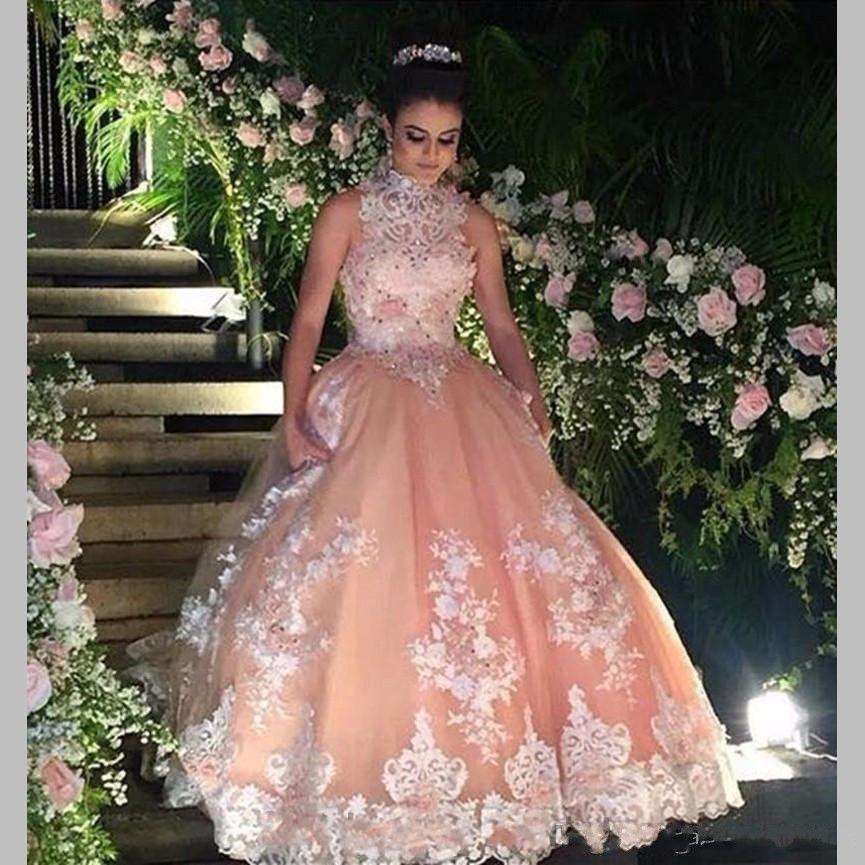2018 Doce 16 Ano Lace Blush Rosa Beads Quinceanera Vestidos vestido de debutante 15 anos vestido de Baile de Alta Neck Sheer Prom Vestidos de Festa vestidos