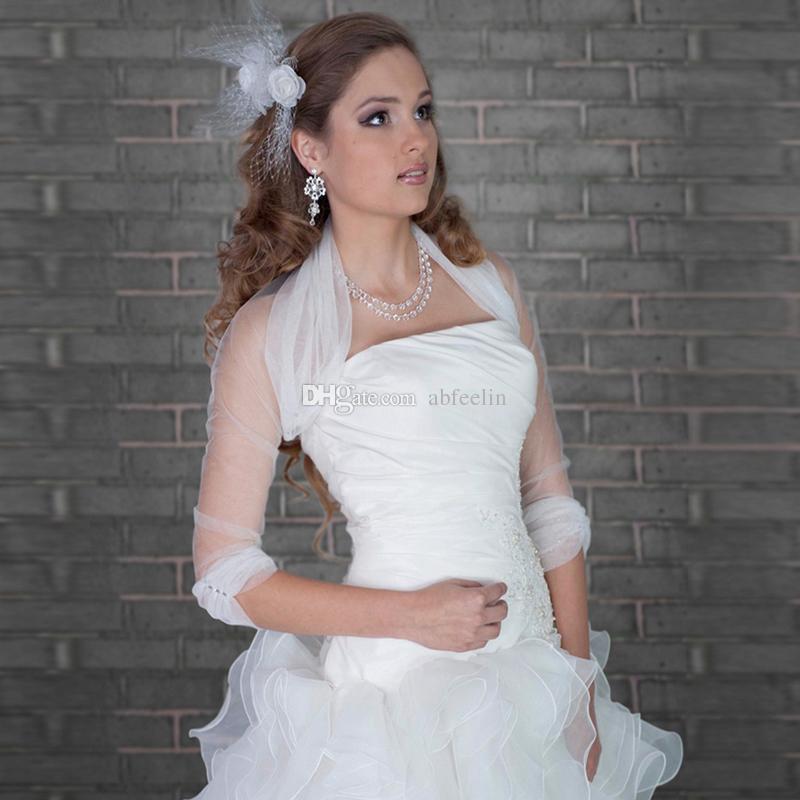 2017 100% Hohe Qualität Rüschen Halbarm Transparent Hochzeit Bolero Europäischen Design Transparent Elegante Hochzeit Zubehör