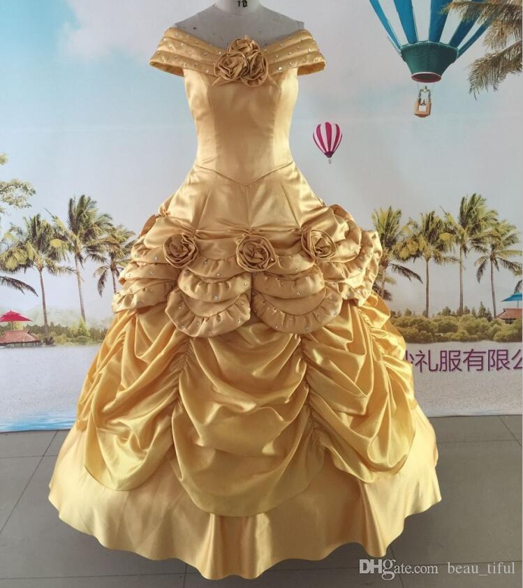 Fast Shipping Gold Pageant Dresses vestidos de noiva 2017 with Flowers Crystal Off the Shoulder party gowns