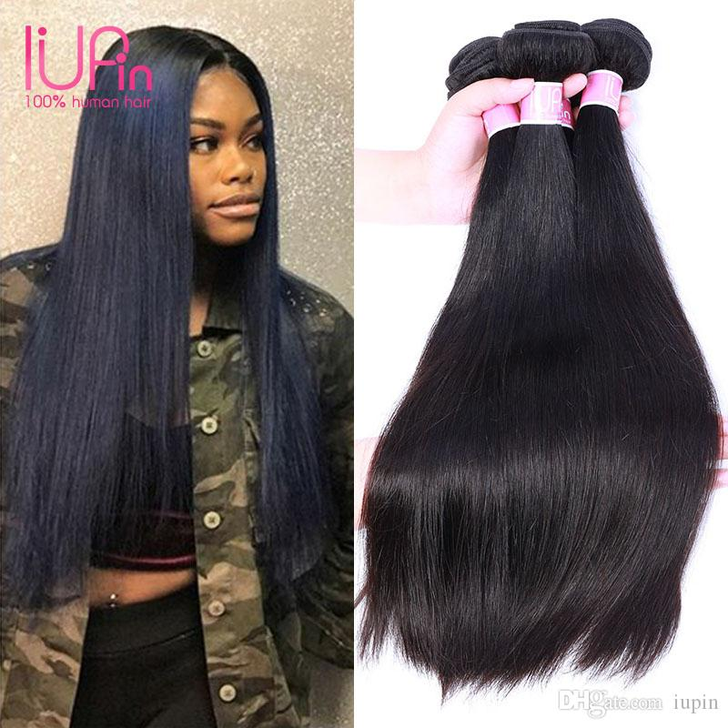 Straight Weave Human Hair Indian Raw Unprocessed Indian Hair 4 Bundles Cheap Human Hair Bundle Straight Brand IUPin Products