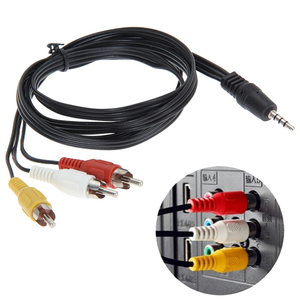 Wholesale- Brand New 3.5mm Jack To 3 RCA Male Plug Adapter Audio ...