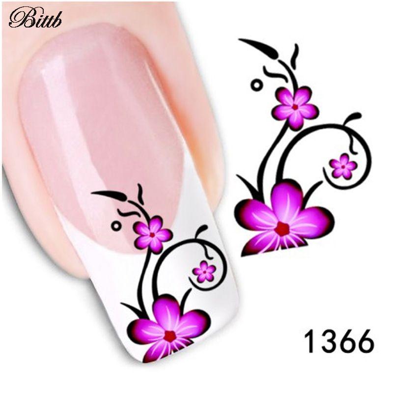 Bittb Nail Sticker 5-Petal Magenta Flowers Fingernail Custom Nail Art  Decals Manicure Makeup Tool Nail Adhesive Foils Sticker