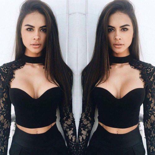cdd85df26bc 2019 Women Lace Long Sleeve Crop Tops Blouse Patchwok Shirt Bustier Bralette  T Shirt From Meijoydeal