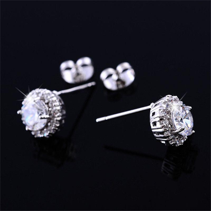 Nueva llegada Best Friends 18K White Gold Plated Earings Pendientes grandes de diamantes para mujer White Zircon Earrings