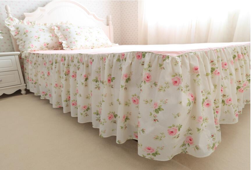 Pollen grüne Blätter mit reiner Baumwolle rosa Blumen Baumwolle Rüschen Prinzessin Bettwäsche-Sets 4 Stück Decke Abdeckung Kissenbezug Bett Rock Stil