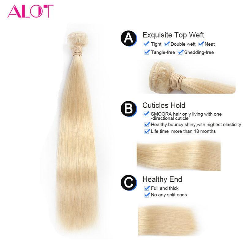 Grade 8A Brazilian Vingir Human Hair Bundles #613 Blonde Straight Hair Color 613 Blonde 3 Bundles Brazilian Virgin Hair Extensions