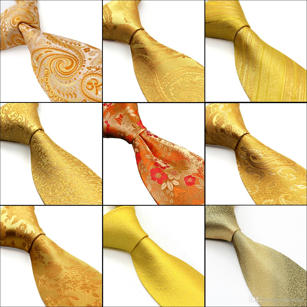 b9046c4cc410 Wholesale Gold Yellow Orange Mens Ties Neckties Paisley Floral Solid  Stripes 100% Silk Jacquard Woven Tie Sets Pocket Square Tie Bar Tie A Tie  From Navyblue ...
