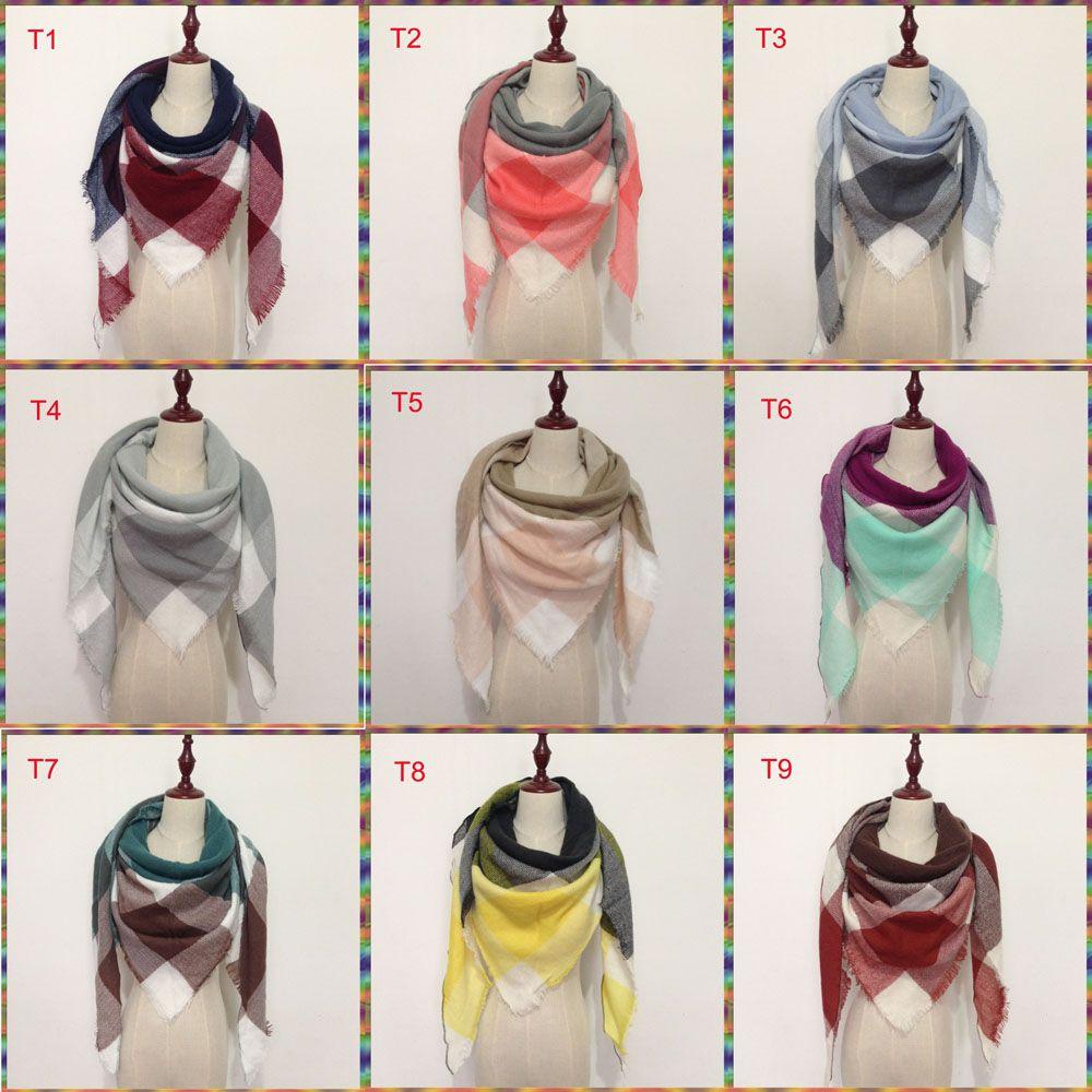 2018 الشتاء وشاح مثلث ترتان الكشمير وشاح المرأة منقوش غطاء مصمم وشاح جديد الاكريليك الأساسية شالات النساء طرحة الأغطية 179 لون