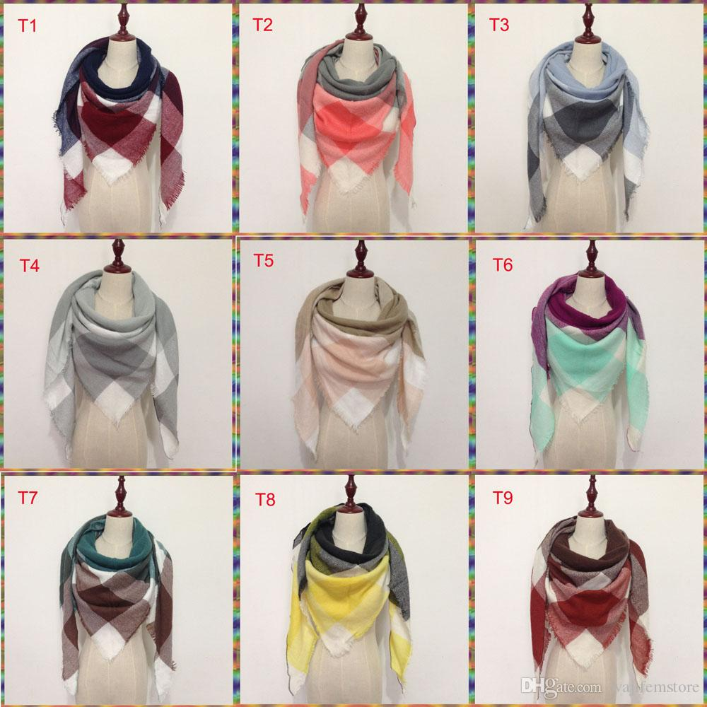 2018 Bufanda de triángulo de invierno Tartán Bufanda de cachemira Mujeres Manta a cuadros Bufanda Nuevo diseñador de acrílico chales básicos Bufandas de las mujeres Wraps