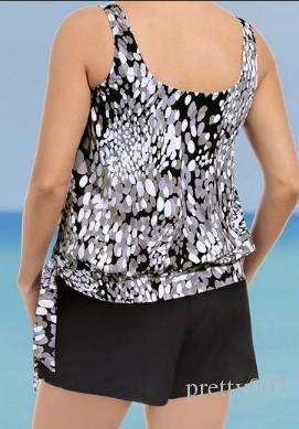 Artı Boyutu Kadın Mayolar Gri Baskı Tankinis 2 Parça Set Mayo Yüzme Takım Elbise Mayo Avrupa tarzı