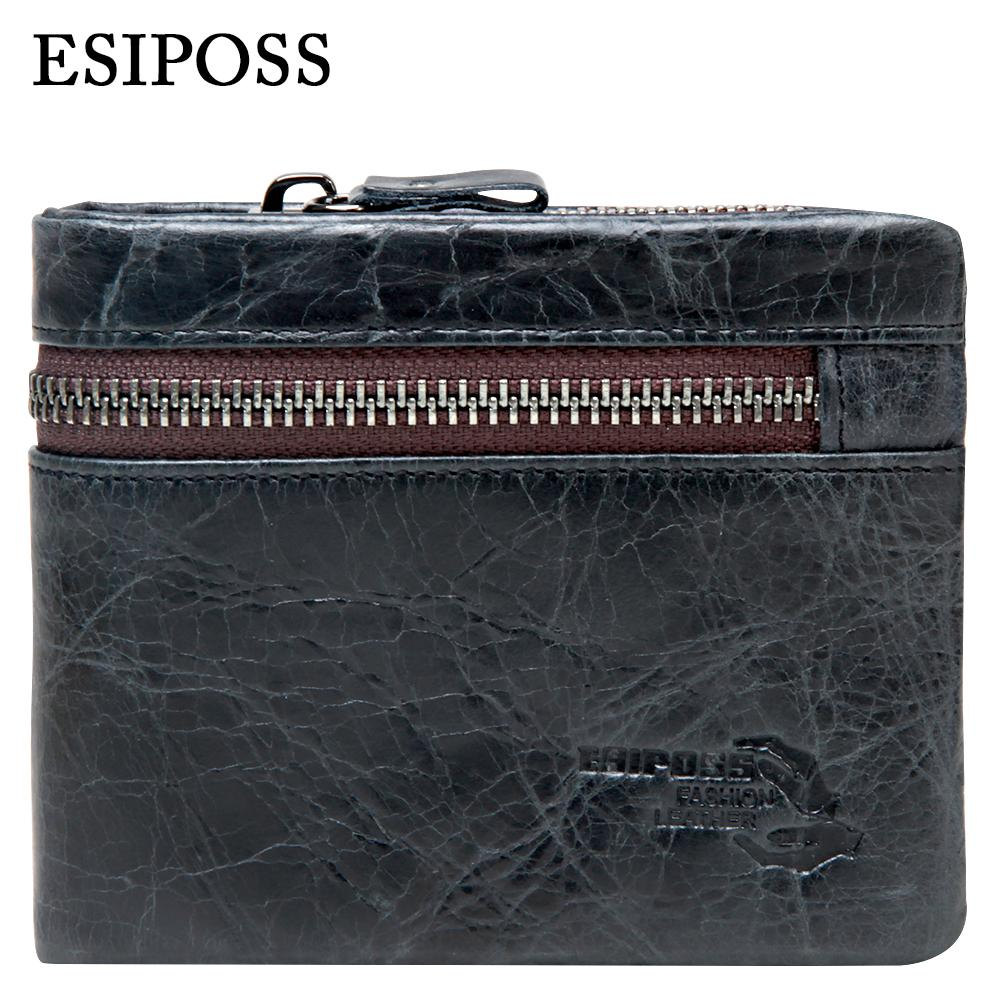 b2b1639b3fc Wholesale- ESIPOSS Genuine Cowhide Leather Men Wallet Vintage Short Purses  with Zipper Coin Pocket Famous Brand Designer Wallets for Men Brand  Designer ...