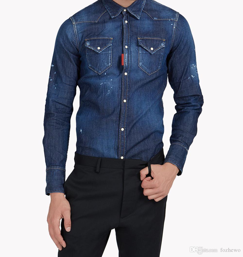 b6d65a4da 2019 Brand Clothing Men Camisa Denim Hombre Shirt Cotton Men Indigo Jeans  Blouse Long Sleeves Jeans Shirt Turn Down Collar Shirt From Fozhewo