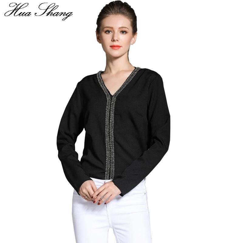 5586bd25a8e 2019 Hua Shang Women Long Sleeve Black Chiffon Blouse Female V Neck Lady  Work Wear Office Shirts Autumn Vintage Tunic Women Tops From Erindolly360b,  ...