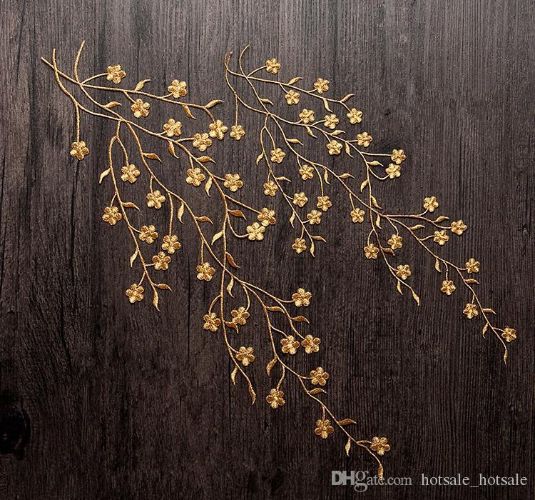 Großhandel Große 47cm Blumen Golden Embroidered Nähen Patches Eisen ...