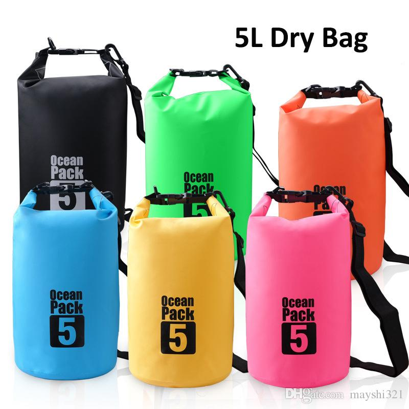 4230def837a6 2019 5L Waterproof Dry Bags Backpack Storage Drift Storage Beach Bag For  Kayak Floating Swimming Boating Traveling From Mayshi321