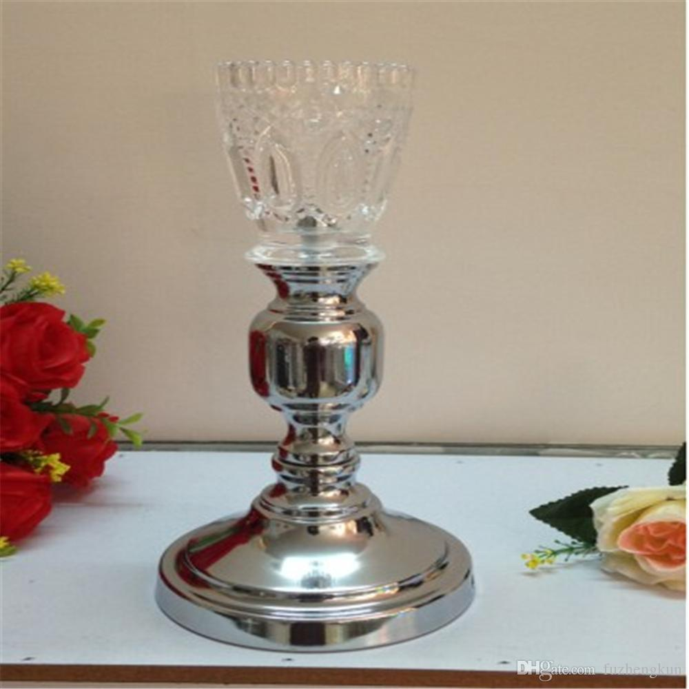 30 cm height silver and glass Creative metal candle holder wedding centerpiece event road lead party flower rack for home decor